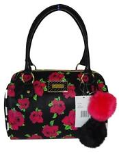 Betsey Johnson  BLACK /FLORAL PRINT BARREL LARGE SATCHEL