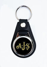 AJS FAUX LEATHER KEY RING / KEY FOB. VINTAGE AJS MOTORCYCLES KEY RING.