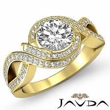 Round Diamond Halo Pre-Set Engagement Ring GIA Color H VS1 18k Yellow Gold 2.5ct