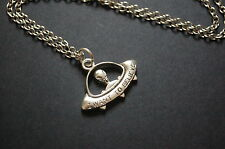 silver tone i want to believe alien UFO necklace
