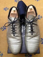 Prada Mens Silver Patent Leather Lace Up Shoes Trainers Sneaker UK 9 US 10 EU 43