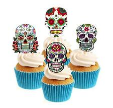 Novelty Sugar Skull Image Mix (2) 12 Edible Stand Up wafer paper cake toppers