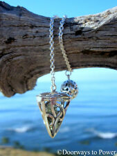 Celtic Chambered Moldavite Crystal Pendulum .925 Sterling Silver A++ Top Quality