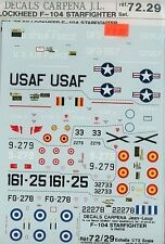 Carpena 1/72 Decal Set: Lockheed F-104 Starfighter MPN #72.29 Mint Condition