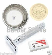Shaving Safety Razor Soap Bowl & 10 Double Edge Blade Pack