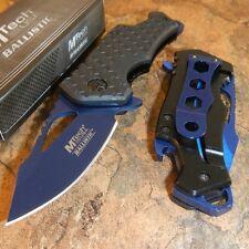 MTECH Ballistic BLUE Skeletonized Flame Blade Spring Assisted Open Pocket Knife