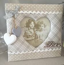 Photo Frame Shabby Vintage Chic Picture Holder Fabric Padded Love Sign Heart