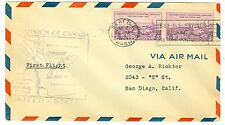 1935 FIRST FLIGHT COVER SEATTLE,WA. TO VANCOUVER,CANADA GOV'T #198, CANADA 3529a