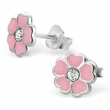 Childrens Kids Girls 925 Silver Flower Ear Studs with Crystal-Free Gift Box