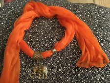 Bright Orange Scarf with Elephant Charm, Pendant, Jewelry Necklace Scarf So Cute