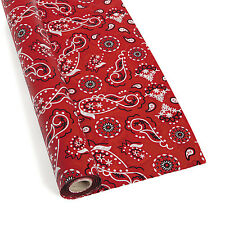 100' ft RED BANDANA Table Cover Roll Party Tablecloth Picnic Birthday Western
