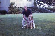KODACHROME 35mm Slide Handsome Man Glasses Golden Retriever Dog Sprinkler 1970!