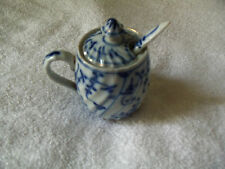 Antique Meissen Germany Blue Onion style Porcelain Mustard Pot Jar spoon