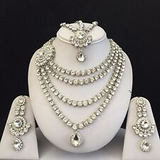 SILVER KUNDAN INDIAN COSTUME JEWELLERY NECKLACE EARRINGS MATHA PATTI SET BRIDAL