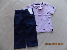 NWT Boy's Gymboree East Coast Harbor polo shirt & blue adjustable pants ~ 2T