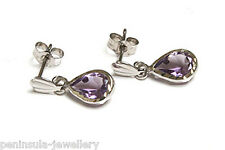 9ct White Gold Amethyst Teardrop Earrings Made in UK Gift Boxed