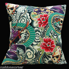 "BRAND NEW Vintage Retro Skulls Snakes Japanese Flowers Cotton 16"" Cushion Cover"