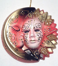 "6"" Celestial Sun & Moon New Orleans Mardi Gras New Wall Mask Orange Cerami(R1822"