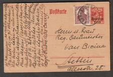 1920 Deutsches Reich overprint postal card uprated Brannenburg to Tessin Germany