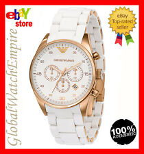 New Emporio Armani womens ladies chrono white gold watch - AR5920 - RRP 395$