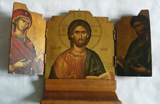 Vintage Carved Wooden Religious Triptych Russian Republican Eagle Jesus and Mary