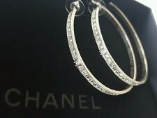 "CHANEL 2.5"" XL Silvertone & Black Stone Crystal Hoop CC Pierced Earrings NWT"