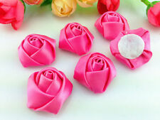 DIY 10/50/100PCS Satin Ribbon Rose Flower DIY Craft Wedding Appliques