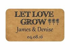 65 MINI LET LOVE GROW PERSONALISED WEDDING FAVOUR STICKERS KRAFT FINISH