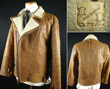 Vintage Lambskin Leather Sherpa Lined Motorcycle Jacket Brown sz M