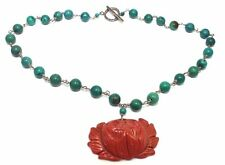 Vtg STUDIO Modernist CORAL FLOWER & TURQUOISE BEADS Sterling Silver Necklace
