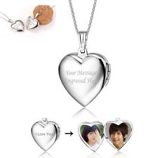 Personalised Engraved Heart Photo Frame Necklace Pendant Jewelry Floating Locket