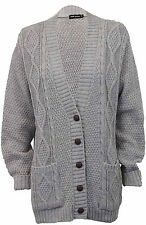Womens Ladies Chunky Cable Knit Cardigan Button Long Sleeves Winter Plus Sizes
