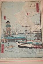 JAPON BATEAU VAPEUR ESTAMPE GRAVURE COULEUR SCENE MARINE PORT