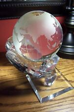 "4"" Etched Glass World Globe on Crystal Stand"