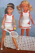 Vintage dolls clothes knitting pattern barbie/sindy tennis robe shorts E6751
