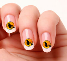 20 Nail Art Decals Transfers Stickers #376 - Witch & Broomstick Halloween