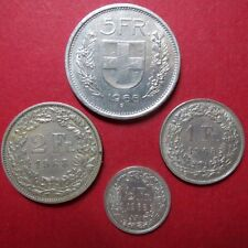 *1968 LOT of  4  SWISS COINS, Circulated 5, 2, 1 and 1/2 FRANCS, Coin Lot #03