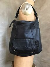 FOSSIL LARGE HOBO Black Leather Purse Tote Bag