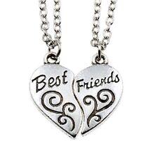 2Pcs Partner Best Friend Heart Charm Chain Pendant Necklace Silver Jewelry CX145