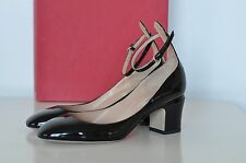 NIB Auth Valentino Tango Patent Leather Ankle Black Pumps Shoes Heels sz 7 / 37