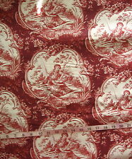 "100% Cotton Fabric ""Toile - Red"" Red/White Couple Fishing by Stream, 46"" Wide"