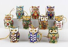 Chinese Handmade Cloisonne Enamel Owl Christmas Ornaments Collectibles 10pcs