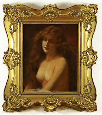 Antique Angelo Asti Oil Painting on Board Portrait of Beauty Odalisque Unsigned
