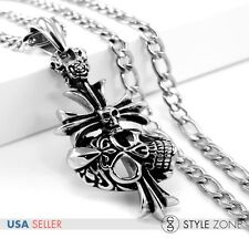 Vintage Gothic Stainless Steel Cross Skull Head Eyes Pendant w Necklace Cool P11
