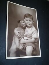 social history 1930's cute boy with toy dog studio photo rp postcard