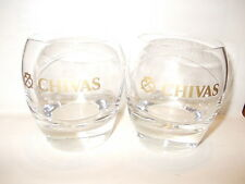 2 X Chivas Regal original rounded low ball rocks Scotch Whisky glass tumbler