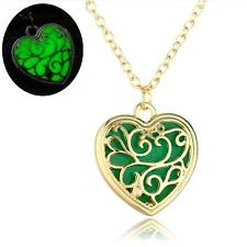 "3/4"" GOLD-TONE HEART Glow in the Dark Pendant 18"" Necklace"