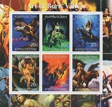 ART OF BORIS VALLEJO SEXY WOMEN FANTASY KYRGYZSTAN 2000 STAMP SHEETLET