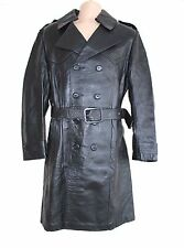 Black 100% Real Leather CSL Fitted Knee Officer Military Men's Pea Coat Size M