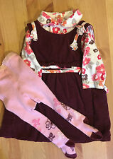 Gorgeous French Designer Marese Lined Dress, Shirt And Tights Set 6-12 Month
